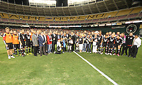 Current and ex teammates gather with friends of Jaime for a group portrait during festivities surrounding the final appearance of Jaime Moreno in a D.C. United uniform, at RFK Stadium, in Washington D.C. on October 23, 2010.