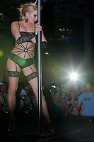 Most beautiful body and face winner Julianna Pais performs on the pole during the first ever Hungarian Pole Dance Championships organized by former striptease world champion Alma Pirner as part of the Erotic Exhibition held in Hungexpo center. in Budapest, Hungary on September 06, 2008. ATTILA VOLGYI