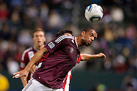 Colorado Rapids forward Caleb Folan (21) gets his head on a ball. The Colorado Rapids defeated CD Chivas USA 1-0 at Home Depot Center stadium in Carson, California on Saturday March 26, 2011...