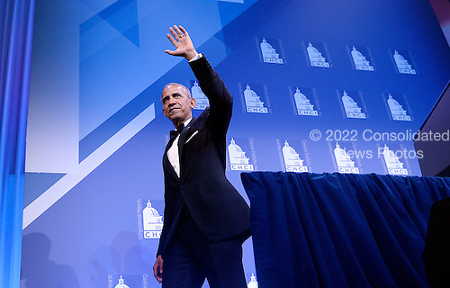 United States President Barack Obama waves at the 39th Annual Congressional Hispanic Caucus Institute Public Policy Conference and Annual Awards Gala at the Walter E. Washington Convention Center, September 15 2016, in Washington, DC. <br /> Credit: Olivier Douliery / Pool via CNP