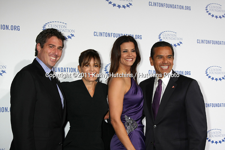 ".LOS ANGELES - OCT 14:  Lynn Wasserman, Lu Parker, Antonio R. Villaraigosa arriving at the Clinton Foundation ""Decade of Difference"" Gala at the Hollywood Palladium on October 14, 2011 in Los Angelees, CA"