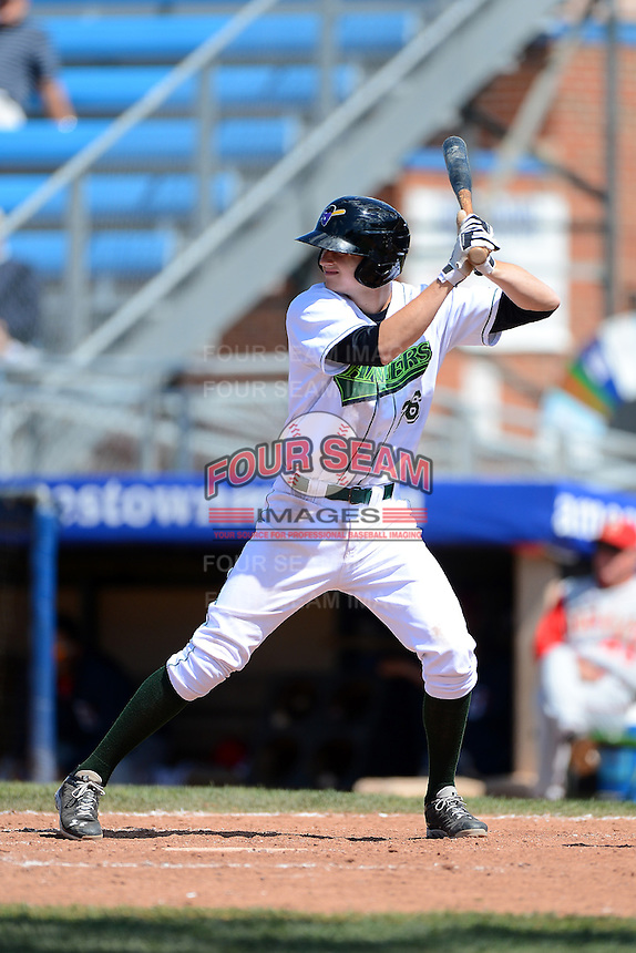 Jamestown Jammers third baseman Erich Weiss (26) during a game against the Brooklyn Cyclones on August 4, 2013 at Russell Diethrick Park in Jamestown, New York.  Jamestown defeated Brooklyn 9-5.  (Mike Janes/Four Seam Images)