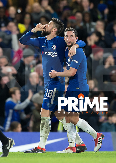 Olivier Giroud of Chelsea celebrates scoring his sides fourth goal during the FA Cup 5th round match between Chelsea and Hull City at Stamford Bridge, London, England on 16 February 2018. Photo by Vince  Mignott / PRiME Media Images.