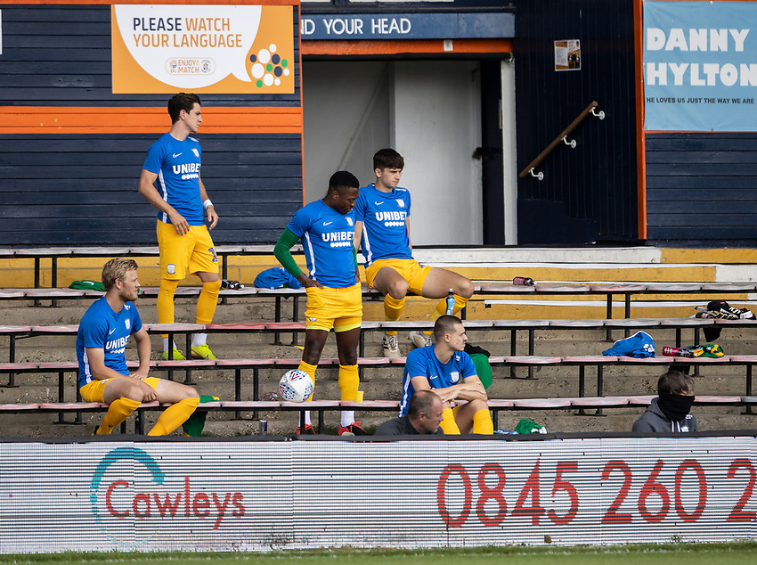 Preston North End's bench located in the stands<br /> <br /> Photographer Andrew Kearns/CameraSport<br /> <br /> The EFL Sky Bet Championship - Luton Town v Preston North End - Saturday 20th June 2020 - Kenilworth Road - Luton<br /> <br /> World Copyright © 2020 CameraSport. All rights reserved. 43 Linden Ave. Countesthorpe. Leicester. England. LE8 5PG - Tel: +44 (0) 116 277 4147 - admin@camerasport.com - www.camerasport.com