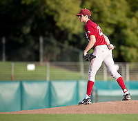 STANFORD, CA - February 4, 2011: Mark Appel of the Stanford baseball team pitches during Friday's scrimmage at Sunken Diamond on Stanford's campus.