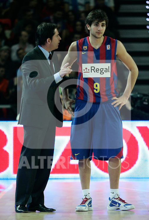 FC Barcelona's coach Xavi Pascual (l) and Ricky Rubio during Spanish Basketball King's Cup match.(ALTERPHOTOS/Acero)