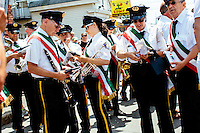 Marching bands wait for the start of the Sunday Procession at St. Peter's Fiesta in Gloucester, Massachusetts, USA.