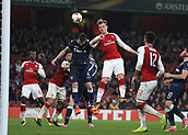 2nd November 2017, Emirates Stadium, London, England; UEFA Europa League group stage, Arsenal versus Red Star Belgrade; Rob Holding of Arsenal attempting to score from a header over Damien Le Tallec of Red Star Belgrade