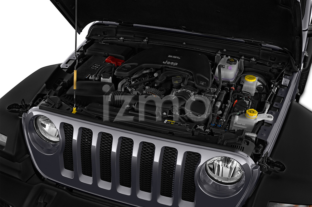 Car Stock 2018 JEEP Wrangler Sport 3 Door SUV Engine  high angle detail view