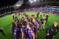Orlando, FL - Saturday July 07, 2018:  Orlando Pride huddle after win, Orlando Pride vs Washington Spirit at Orlando City Stadium.