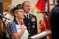 NWA Democrat-Gazette/JASON IVESTER<br /> Jean Meacham, American Legion Post 341 commander, leads the reciting of the Pledge of Allegiance Monday, May 29, 2017, during the Memoral Day Program at the American Legion Post 341 in Bella Vista.