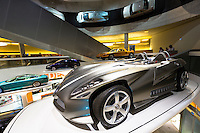 Mercedes-Benz concept cars in museum gallery in Stuttgart, Germany. In front is Mercedes F400 Carving V6 presented 2001