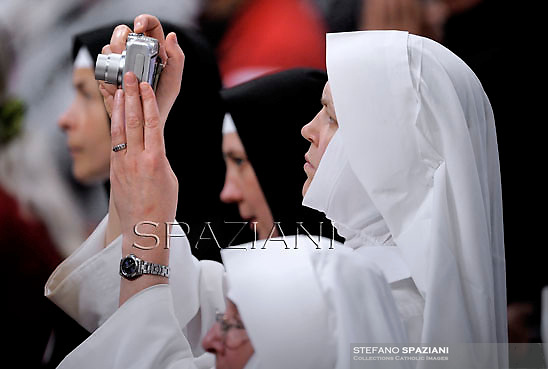 Sister,Pope Benedict XVI leads the holy mass of Pentecost Sunday in Saint Peter's Basilica at the Vatican on May 27, 2012.