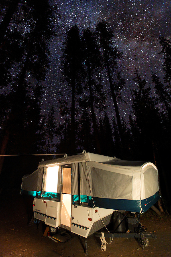 Tent trailer camping under the stars, Crater Lake National Park, Oregon, USA, North America
