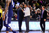 Wednesday, January 4, 2016: Georgetown Hoyas head coach John Thompson III (left) and Providence Friars head coach Ed Cooley (right) shake hands at the end of the NCAA basketball game between the Georgetown Hoyas and the Providence Friars held at the Dunkin Donuts Center, in Providence, Rhode Island. Providence defeats Georgetown 76-70 in regulation time. Eric Canha/CSM