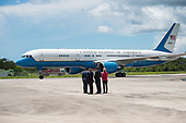 In this photo released by the National Aeronautics and Space Administration (NASA) United States Vice President Mike Pence arrives in Air Force Two as NASA Leadership looks on, at the Shuttle Landing Facility (SLF) to highlight innovations made in America and tour some of the public/private partnership work that is helping to transform Kennedy Space Center (KSC) into a multi-user spaceport on Thursday, July 6, 2017 in Cape Canaveral, Florida. <br /> Mandatory Credit: Aubrey Gemignani / NASA via CNP