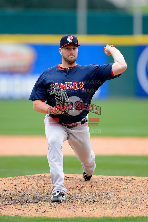 Pawtucket Red Sox pitcher Ryan Rowland-Smith #18 during the second game of a doubleheader against the Buffalo Bisons on April 25, 2013 at Coca-Cola Field in Buffalo, New York.  Buffalo defeated Pawtucket 4-0.  (Mike Janes/Four Seam Images)
