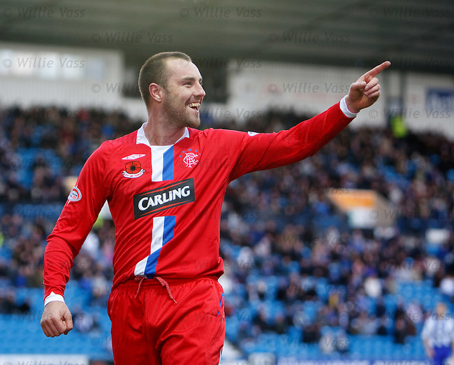 Kris Boyd celebrates after firing home goal no 2 for Rangers