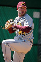 February 21, 2009:  Pitcher Scott Matyas (42) of the University of Minnesota during the Big East-Big Ten Challenge at Jack Russell Stadium in Clearwater, FL.  Photo by:  Mike Janes/Four Seam Images