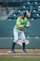 Conner Capel (1) of the Lynchburg Hillcats at bat against the Winston-Salem Dash at BB&T Ballpark on May 1, 2018 in Winston-Salem, North Carolina. The Dash defeated the Hillcats 9-0. (Brian Westerholt/Four Seam Images)