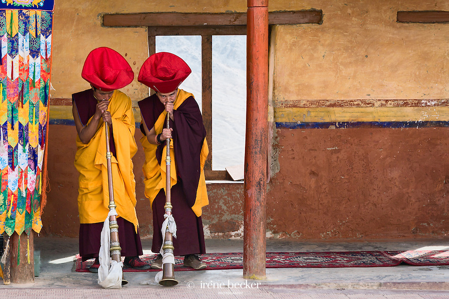 Buddhist monks playing traditional musical horns. Chemrey Monastery, Leh, Jammu and Kashmir, India