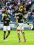 Solna 2015-07-12 Fotboll Allsvenskan AIK - GIF Sundsvall :  <br /> AIK:s Fredrik Brustad firar sitt 4-1 m&aring;l med Ebenezer Ofori och Henok Goitom under matchen mellan AIK och GIF Sundsvall <br /> (Foto: Kenta J&ouml;nsson) Nyckelord:  AIK Gnaget Friends Arena Allsvenskan GIF Sundsvall Giffarna jubel gl&auml;dje lycka glad happy