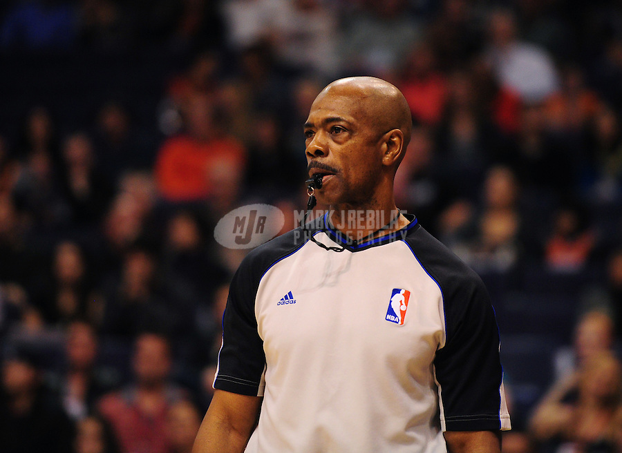 Dec. 28, 2011; Phoenix, AZ, USA; NBA referee Tom Washington during the game between the Phoenix Suns against the Philadelphia 76ers at the US Airways Center. The 76ers defeated the Suns 103-83. Mandatory Credit: Mark J. Rebilas-USA TODAY Sports