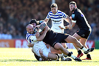 Tom Dunn of Bath Rugby is tackled to ground. Gallagher Premiership match, between Exeter Chiefs and Bath Rugby on March 24, 2019 at Sandy Park in Exeter, England. Photo by: Patrick Khachfe / Onside Images
