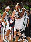 Mar. 18, 2012; Skylar Diggins (4), Brittany Mallory (22) and Devereaux Peters (14) dance before the start of the NCAA Tournament first round game at the Purcell Pavilion...Photo by Matt Cashore/University of Notre Dame