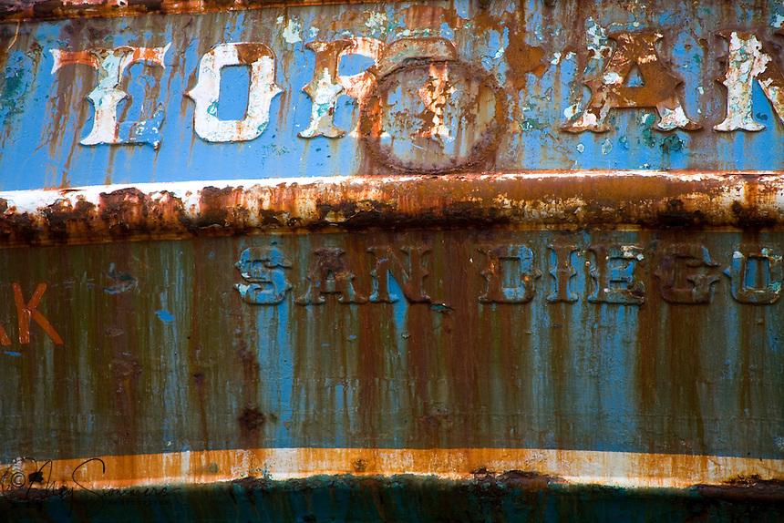 Detail of ship in dry dock. St. Paul Boat Harbor, Kodiak, Alaska