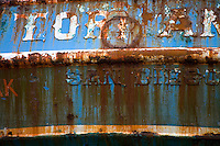 Detail of ship in dry dock. St. Paul Boat Harbor, Kodiak, Alaska