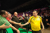 09.04.2015. Sheffield, England. Betway Premier League Darts. Matchday 10.  Dave Chisnall [ENG] arrives on the stage for his game with Gary Anderson [SCO]