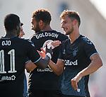 09.07.2019: St Joseph's v Rangers: Borna Barisic celebrates with Sheyi Ojo and Connor Goldson