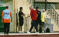 The United States' head coach, Thomas Rongen, walks to the locker room without greeting his team after losing the match against South Korea after the FIFA Under 20 World Cup Group C match between the United States and South Korea at the Mubarak Stadium on October 02, 2009 in Suez, Egypt. The US team lost 3-0.