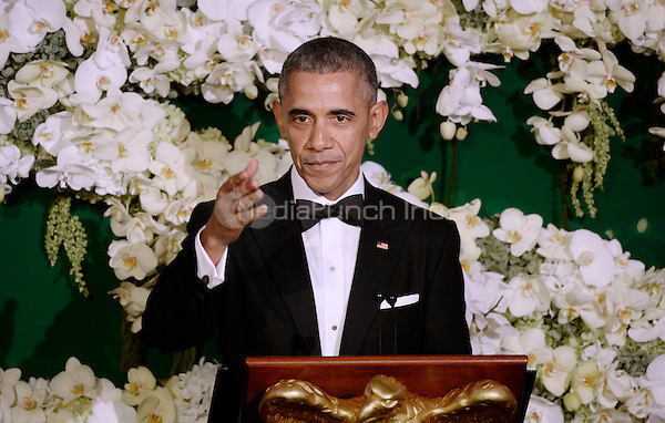 President Barack Obama acknowledges Prime Minister Justin Trudeau's mother, Margaret Trudeau, during a state dinner at the White House March 10, 2016 in Washington, DC. <br /> Credit: Olivier Douliery / Pool via CNP/MediaPunch