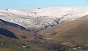 05/12/12 ..Snow capped hills dominate the view towards Kinder Scout over Edale in The Peak District near Buxton, Derbyshire...All Rights Reserved - F Stop Press.  www.fstoppress.com. Tel: +44 (0)1335 300098.