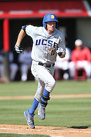 Dalton Kelly (10) of the UC Santa Barbara Gouchos runs to first base during a game against the Cal State Northridge Matadors at Matador Field on April 10, 2015 in Northridge, California. UC Santa Barbara defeated Cal State Northridge, 7-4. (Larry Goren/Four Seam Images)