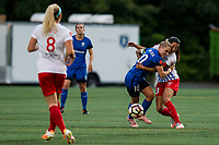 Seattle, WA - Wednesday, June 28, 2017: Jess Fishlock and Christen Press during a regular season National Women's Soccer League (NWSL) match between the Seattle Reign FC and the Chicago Red Stars at Memorial Stadium.