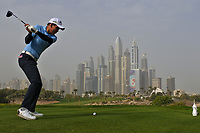 Phachara Khongwatmai (THA) on the 8th tee during Round 1 of the Omega Dubai Desert Classic, Emirates Golf Club, Dubai,  United Arab Emirates. 24/01/2019<br /> Picture: Golffile | Thos Caffrey<br /> <br /> <br /> All photo usage must carry mandatory copyright credit (&copy; Golffile | Thos Caffrey)