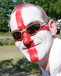 10 June 2006: An England fan with his face painted as a St George's Cross. England played Paraguay at Commerzbank Arena in Frankfurt, Germany in match 3, a Group B first round game, of the 2006 FIFA World Cup.