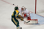 ST CHARLES, MO - MARCH 19:  Ann-Renée Desbiens (30) of the Wisconsin Badgers makes a save during the Division I Women's Ice Hockey Championship held at The Family Arena on March 19, 2017 in St Charles, Missouri. Clarkson defeated Wisconsin 3-0 to win the national championship. (Photo by Mark Buckner/NCAA Photos via Getty Images)