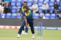Lasith Malinga (Sri Lanka) in action during Afghanistan vs Sri Lanka, ICC World Cup Cricket at Sophia Gardens Cardiff on 4th June 2019