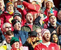 8th February 2020; Aviva Stadium, Dublin, Leinster, Ireland; International Six Nations Rugby, Ireland versus Wales; Welsh fans sing their national anthem