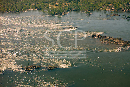 Pará State, Brazil. Aerial view of the Xingu river with rapids.