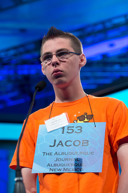 Speller 153 Jacob Bayly Hunter competes in the preliminary rounds of the Scripps National Spelling Bee at the Gaylord National Resort and Convention Center in National Habor, Md., on Wednesday,  May 30, 2012. Photo by Bill Clark