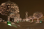 Idaho, North, Kootenai County, Coeur d'Alene. The lighted trees lining the driveway to the Coeur d'Alene Resort during a winter snowstorm.