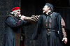 The Merchant of Venice <br /> by William Shakespeare <br /> at The Globe Theatre, London, Great Britain <br /> 25th April 2015 <br /> <br /> Jonathan Pryce as Shylock <br /> <br /> <br /> <br /> Dominic Mafham as Antonio <br /> <br /> <br /> Photograph by Elliott Franks <br /> Image licensed to Elliott Franks Photography Services