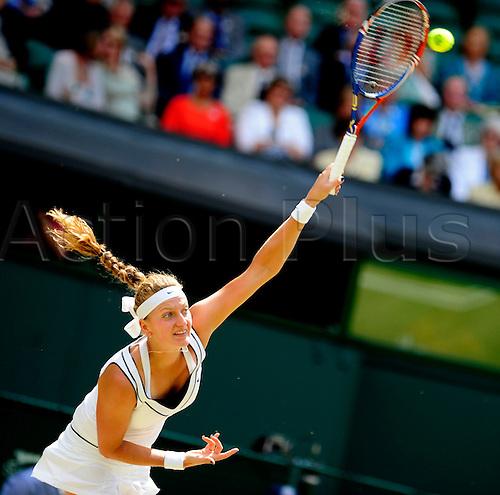 02.07.2011. Wimbledon, London, Ladies singles final. Sharapova v Kvitova.  Petra Kvitova of Czech Republic serves during her final match against Maria Sharapova of Russia in 2011 Wimbledon Championships in London, Britain,