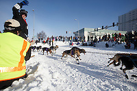 A volunteer trail guard watches as Jessie Royer's team flies past the Cordova and 4th avenue turn during the Iditarod 2014 Ceremonial start in downtown Anchorage, Alaska.<br /> <br /> Iditarod Sled Dog Race 2014<br /> PHOTO (c) BY JEFF SCHULTZ/IditarodPhotos.com -- REPRODUCTION PROHIBITED WITHOUT PERMISSION