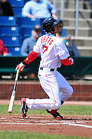 Portland Sea Dogs centerfielder Mookie Betts (7) during a game versus the New Britain Rock Cats at Hadlock Field in Portland, Maine on May 17, 2014. (Ken Babbitt/Four Seam Images)